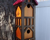 Bird house, double nesting box, Stratford Tudor style 2, signature roof design, EZ clean, western red cedar, fully functional, US made,