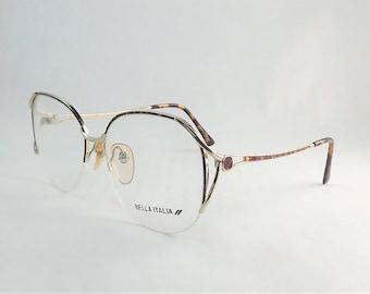 Tortoise Shell Eyeglasses, Gold Metal Glasses, Womens Wire Eyeglasses, Rimless Eyeglasses, Round Frames, 1980s Vintage Frame, NOS Eyeglasses