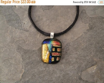Christmas in July Sale Fused Dichroic Glass Multi-Colored Pendant - BHS02112