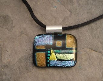 Christmas in July Sale Fused Dichroic Glass Multi-Colored Pendant - BHS022834
