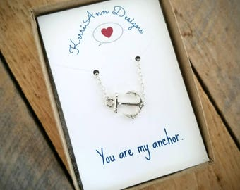 Anchor Necklace, Gift for woman, Gift for teen, Necklace with Quote, Valentines Day gift, Sterling silver anchor necklace, You are my anchor