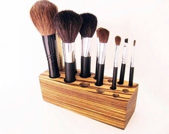 Make up Organizer Brush Holder African Wood