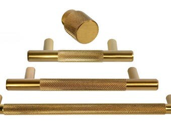 "Brass Drawer Pull - ""Texture"" Drawer Pulls and Knobs in Brass - Round Drawer Handles"