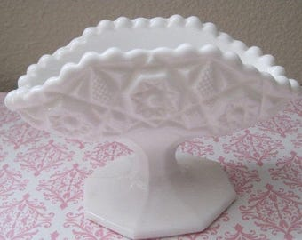 White Milk Glass Pedestal Bowl, Ornate Pattern, 1950's, Mid Century, Vintage Home Decor
