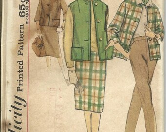 ON SALE VTG Simplicity 4098 Misses Slenderette Jacket, Sleeveless Jacket, Pants and Skirt Pattern, Size 16 Uncut