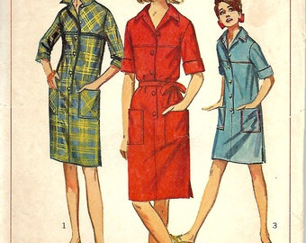 1960s Misses Shift Dress Pattern, Simplicity 6491, Size 16, Bust 36