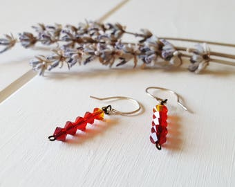 Ava - Red Ombre Earrings, Stick Earrings, Ready to Ship