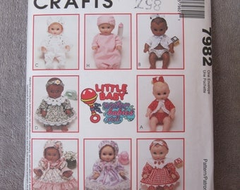 "Little Baby, Water Babies Doll, small 8 - 10"", medium 11 - 13"", large 14 - 16"", McCall's 7982, uncut and complete baby doll layette pattern"