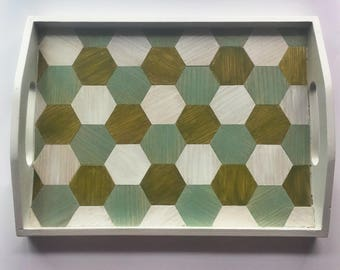 Serving Tray with Hexagon Wood Inlay