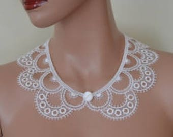 Cotton Ecru Peter Pan Collar, Ecru Detachable Collar and  button, Lace Collar, Lace Necklace, Detachable Collar Necklace, gift for her