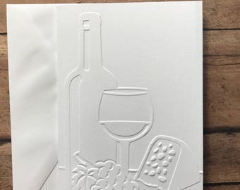 Wine & Cheese Cards, White Embossed Note Cards, Greeting Cards, Cards for Wine Lovers, Cards for Her, Wine Tasting Party Cards,