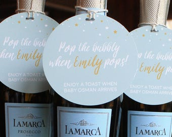 Baby shower tags etsy pop the bubbly baby shower tags personalized champagne tags gift tag party favors pronofoot35fo Gallery
