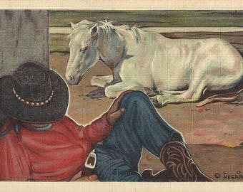 Siesta by Lon Megargee - Vintage 1940s Artist-Signed Cowboy and Horse Postcard