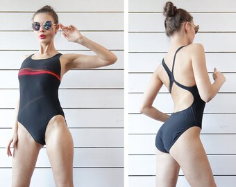 SPEEDO black red racer back low open keyhole fitted sport pool one piece swimsuit M