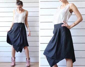 BENETTON Vintage black pure linen asymmetric hem knee length midi skirt L XL