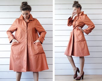 Vintage orange polyester cotton single breasted wide A line belted trench windbreaker raincoat fall outerwear coat S M