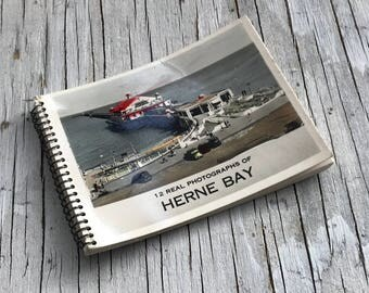 Vintage Hern Bay real photographs souvenir booklet. 12 photographs hand coloured. 1950s/1960s.