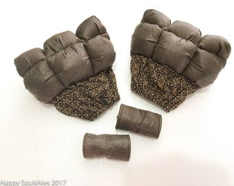 Crutch Bubbles Crutch Pads and Pouch Set for Men - Brown Faux Leather  -  Ready to Ship Crutch Covers