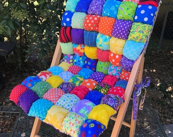 Full Chair Cushion with Seat Back Custom Made - Bubble Quilt Style Biscuit Quilt Chair Pad Seat Cushion Handmade Cushion