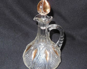 Antique EAPG Glass Cruet US Glass, New Jersey Loops and Drops 1800s