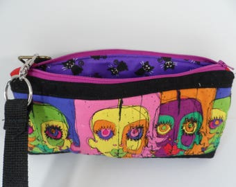 Modern Art quilted small purse, sling purse or crossbody option with a zippered closure, Factory Girls 1 limited edition
