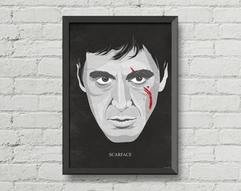 Scarface,movie poster,Al Pacino,movie,art,digital print,iconic,man cave wall art,black,gray,wall decor