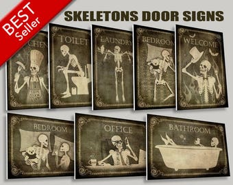 Skeletons Door Signs,WC sign,restroom sign,Laundry,Bedroom,Kitchen sign,Office sign,Welcome home,rock and roll,door decor,Gift ideas,horror