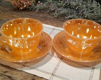 Vintage Fire-King Peach Lustre / Luster / Tea Cups and Saucers / Oven Ware / Price is for Pair / Made in USA