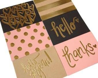 Set of 6 // Blank Note Cards w/ Envelopes // Folded Note Cards // Blank Greeting Cards // Gold Foil Cards // Gold Foil Note Cards