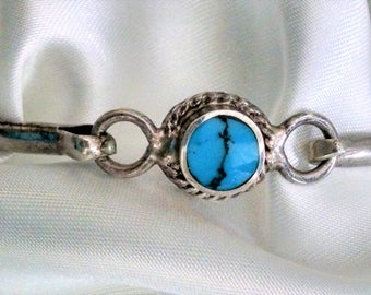 Bangle Vintage Sterling Silver Turquoise Hinge Clasp Signed 925 Crafted in Mexico Unique Center Matrix Southwestern Tribal Boho Chic