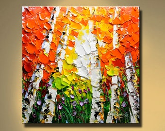 Original Abstract Painting Modern Thick Textured Painting Impasto Landscape Textured Modern Palette Knife Painting, on Canvas by Chen 0625