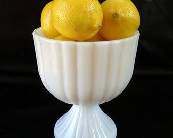 White milk glass compote bowl, wedding decor, minimalist home decor pedestal candy bowl