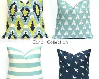 15% Off Sale Decorative Pillows Aqua Green Pillow - Striped Pillow -Navy Blue Pillow - Bird Pillow -Cushion Cover -  Kids bedding - Boys Nur
