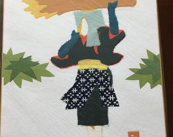 Chigirie, Japanese Torn Paper Art of Female Farmer.