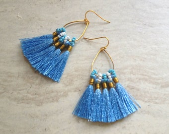 Blue Tassel Earrings Tassel Teardrop Hoop Earrings Must Have Tassel Earrings Statement Tassle Earrings Sky Blue Tassel Earringsra