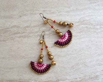 Half Moon Tribal Beaded Drop Earrings Hmong Fuschia Textile Brass Bead Dangle Earrings