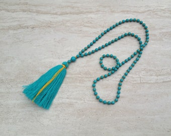 Teal Tassel Necklace Turquoise Tassel Necklace Hand Knotted Beaded Aqua Tassel Necklace Statement Necklace Long Tassle Tiered Necklace
