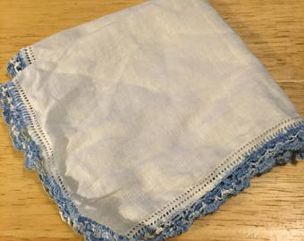 White Linen Hankie with Blue Crocheted Edging