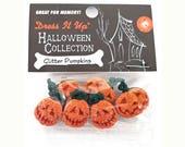 Glitter Pumpkins Halloween Jack O' Lanterns Jesse James Dress It Up Novelty Buttons