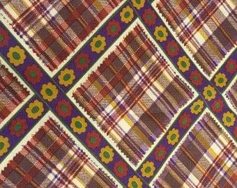 Vintage 70's Cotton Fabric, Plaid Fabric, Retro Style Fabric