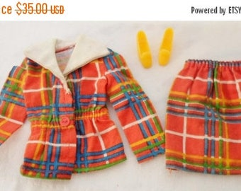 ON SALE Vintage 1974 Barbie Plaid Cotton Suit With Shoes #7815, Yellow Pilgrim Shoes, Red, Yellow, Green, Blue, Collectible, Barbie Doll Clo