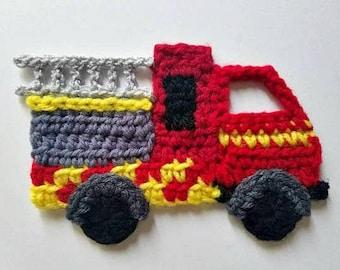 NEW- 1pc Crochet FIRETRUCK Applique