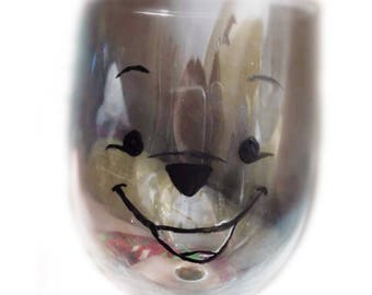Hand Painted Winnie The Pooh Wine Glass