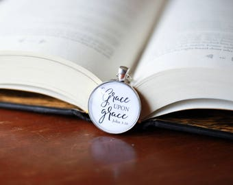 Grace upon grace necklace - john 1:16 necklace - inspirational jewelry - word grace necklace - grace pendant - Bible verse necklace - John 1
