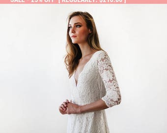 25% OFF! Ivory long sleeves lace wedding gown, Lace bridal gown, Ivory lace wedding empire dress 1124