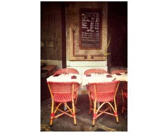 Parisian Café, Red Chairs, Paris Photography, Romantic Paris, Kitchen Decor, Street Café