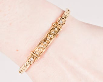 Antique Bangle - Antique Victorian 15k Yellow Gold Diamond Bangle Bracelet
