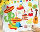 Cinco De Mayo Clipart, Fiesta-Zeit, Mexiko, Rasseln, Flagge, Sombrero, Piñata, Chilischoten, Kaktus, kommerzielle Nutzung, Vektor Clipart, SVG-Schnitt