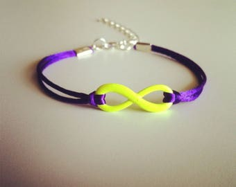 Purple cord with yellow infinity sign bracelet