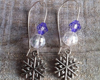 Snowflakes earrings large silvery purple clasps